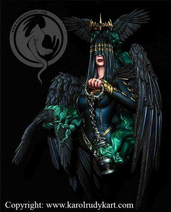 Miniatures.karol rudyk art.Raven Queen.stonebeard miniatures.painted.australia