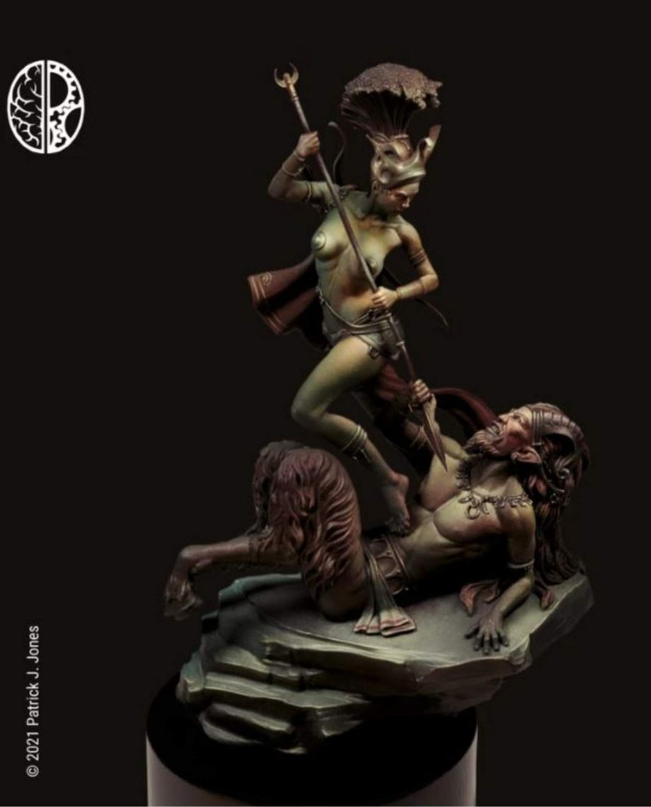 Miniature 75mm Mindwork Games Artemis and the Satyr painted front stonebeard miniatures