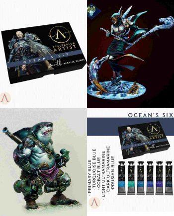 Stonebeard Miniatures Packs & Bundles Ocean's Blue Bundle Aradia Miniatures Scale 75 Scale Color Artist Acrylic Ocean's Six 75mm Miniatures Display Miniature